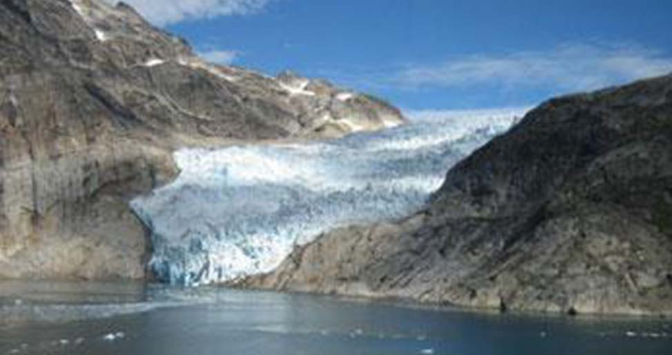 glacier flowing down