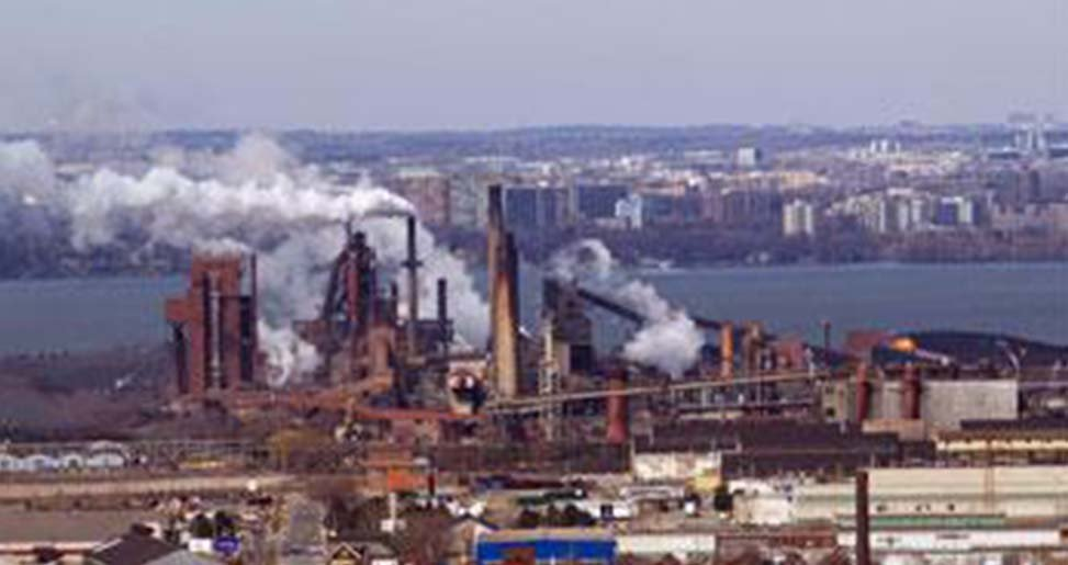 Hamilton Ontario steel mill with smog / pollution